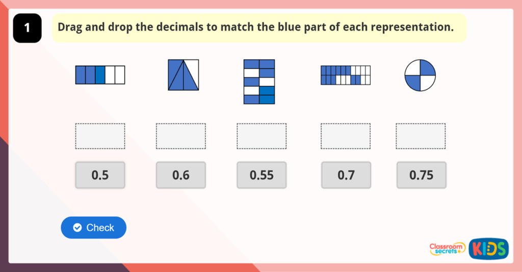 Year 6 Decimals as Fractions Game
