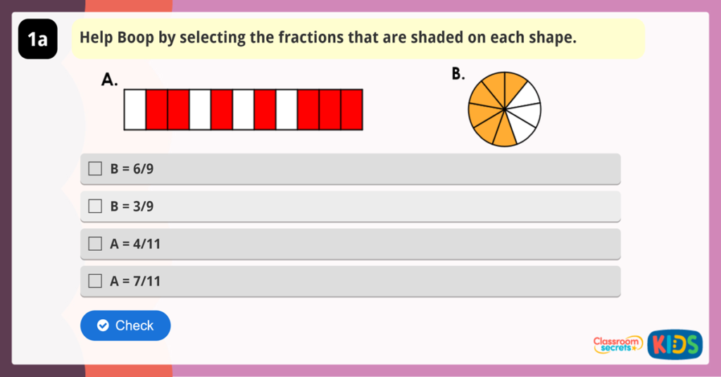 Year 3 Making the Whole Fraction Reasoning Activity