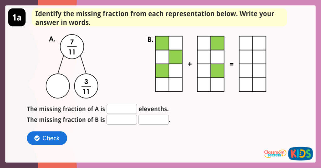 Year 3 Add and Subtract Fractions Reasoning Game