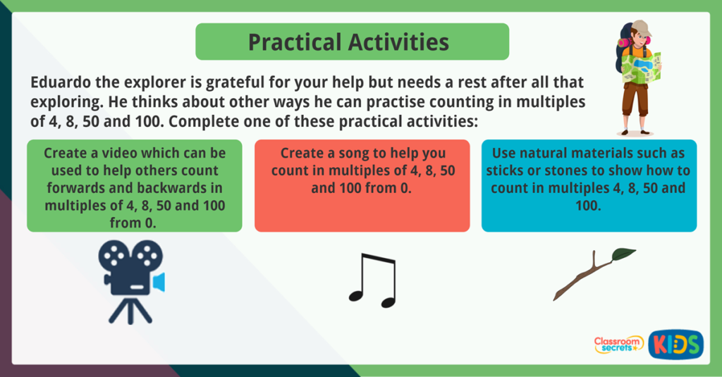 Year 3 Count in Multiples of 4, 8, 50 and 100 Practical Activities