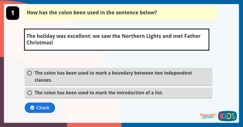 Colons to Mark Boundaries and Lists Game