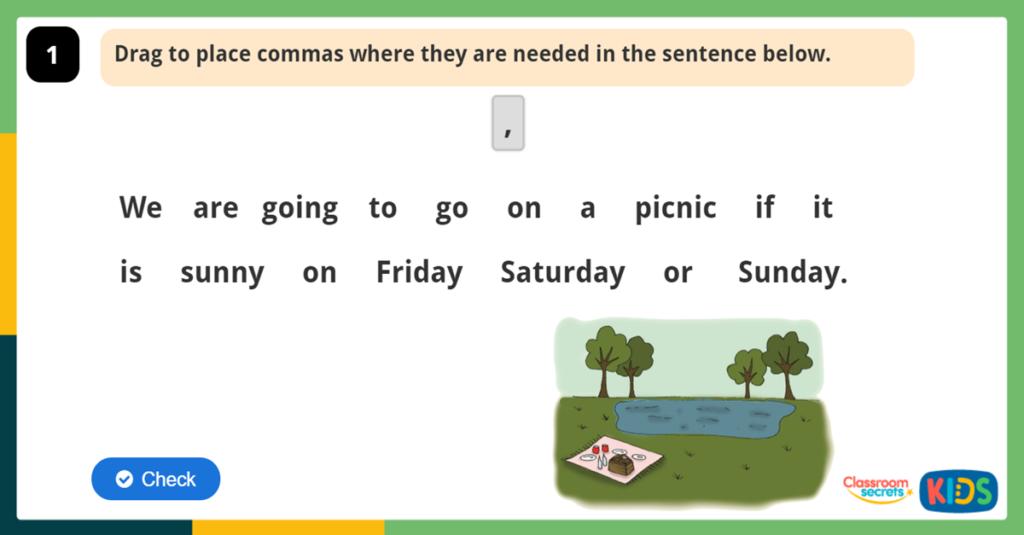 Year 2 Commas Challenge