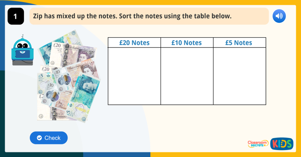 Year 1 Recognise Notes Money Activities
