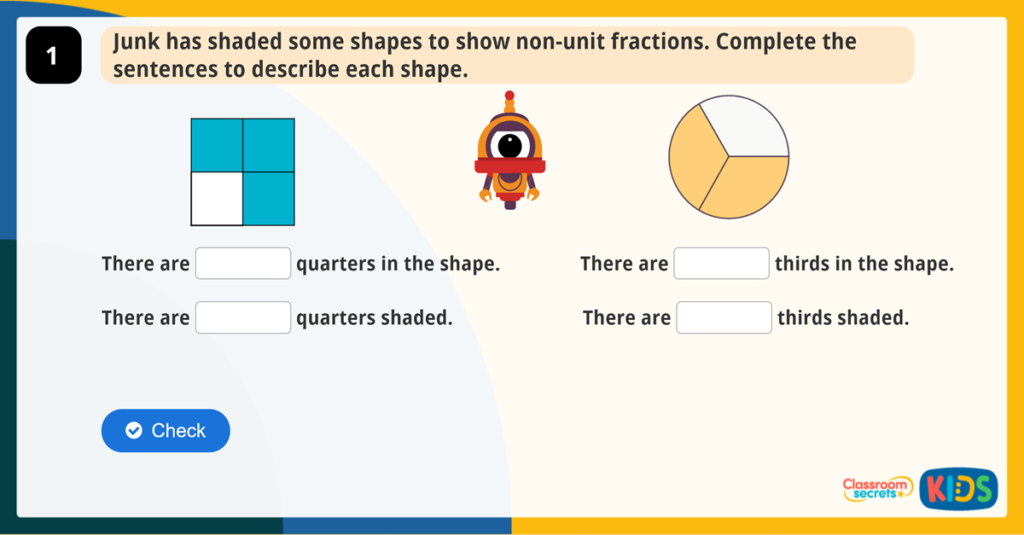 Year 2 Non-unit Fractions Activity