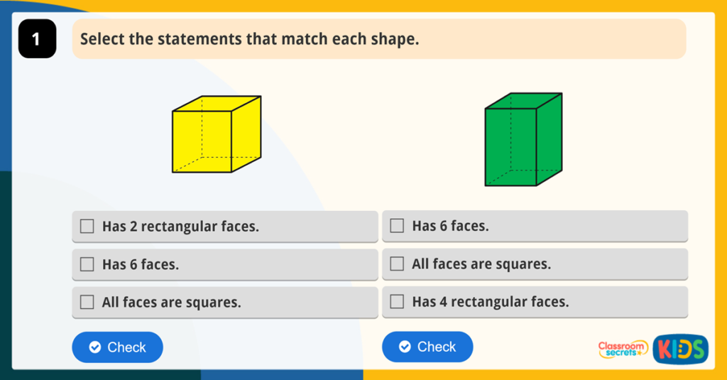 Year 2 Properties of 3D Shapes Activity