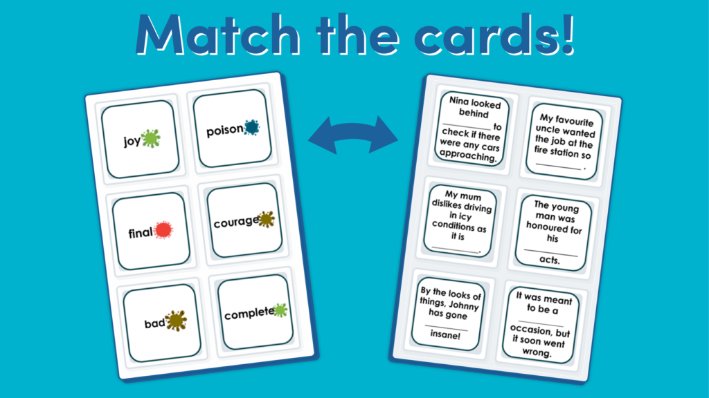 Year 4 Suffixes -ous and -ly Matching Game