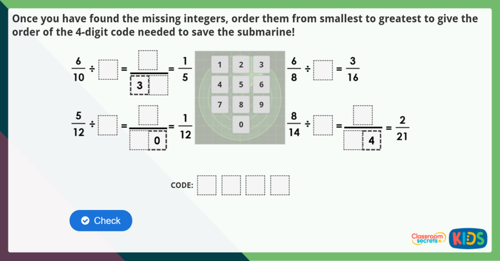 Year 6 Divide Fractions by Integers Challenge