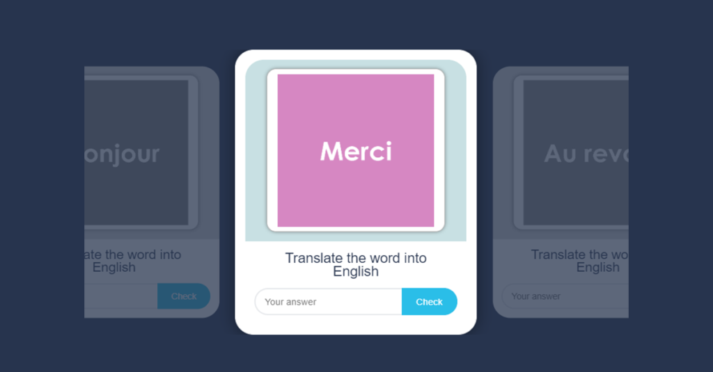 French Greetings Flash Cards to test translating skills