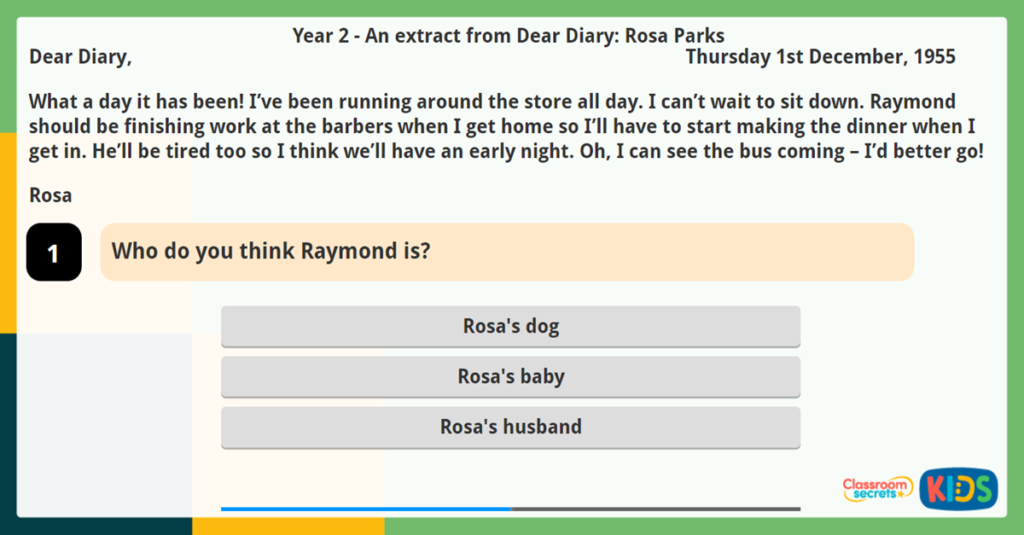 Year 2 Make Inferences from a diary extract reading challenge