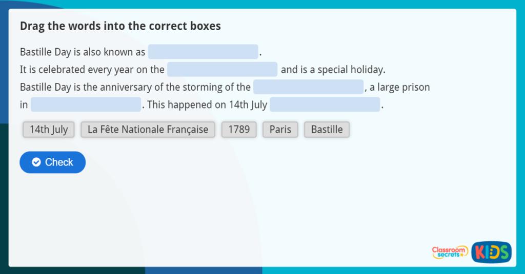 KS2 Bastille Day Comprehension game and quiz