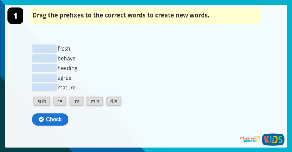Adding Prefixes and Suffixes Game