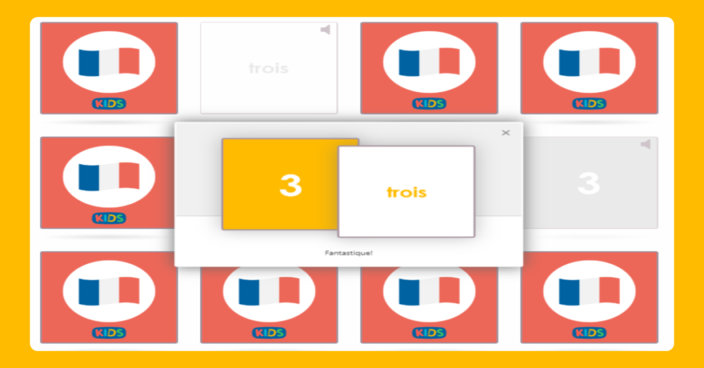 Numbers to 5 in French matching game