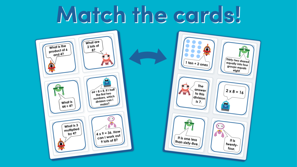 Year 3 4 and 8 Times Table Matching Game