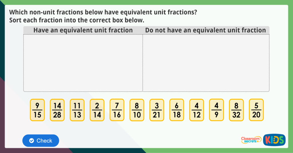 Year 3 Equivalent Fractions Maths Challenge