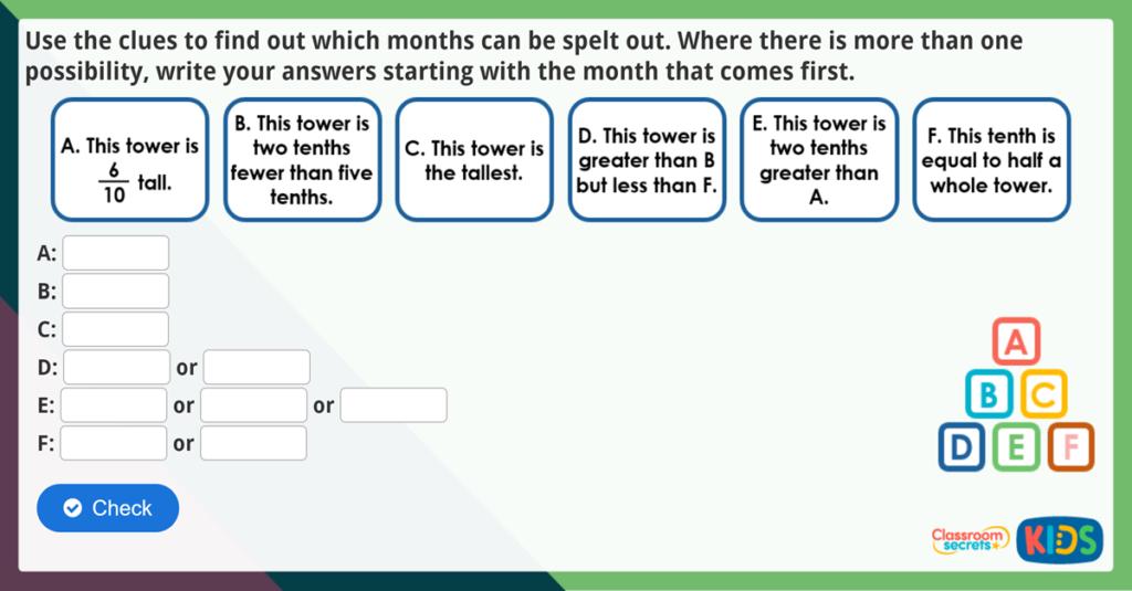Year 3 Tenths Maths Challenge