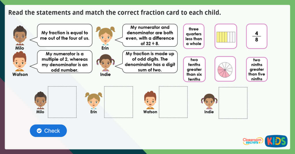 Year 3 Unit and Non-Unit Fractions Maths Challenge