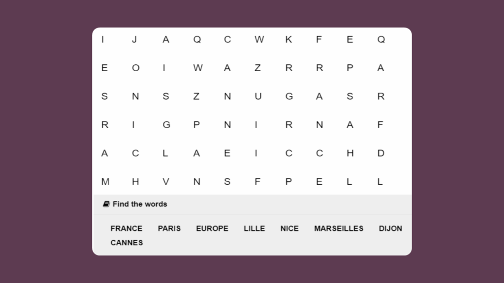 KS2 Word Search based on French places
