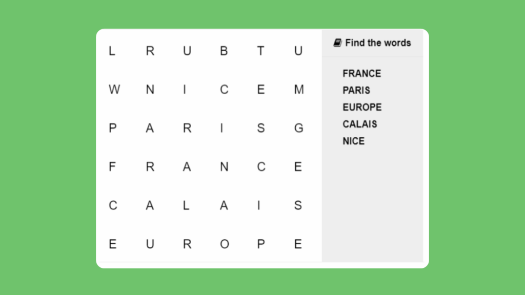 KS1 Word Search - Find the Places hidden in the grid