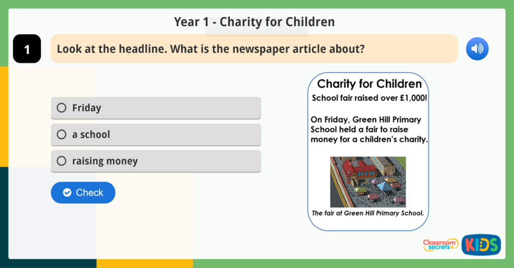 Year 1 Features of Newspapers Reading Comprehension