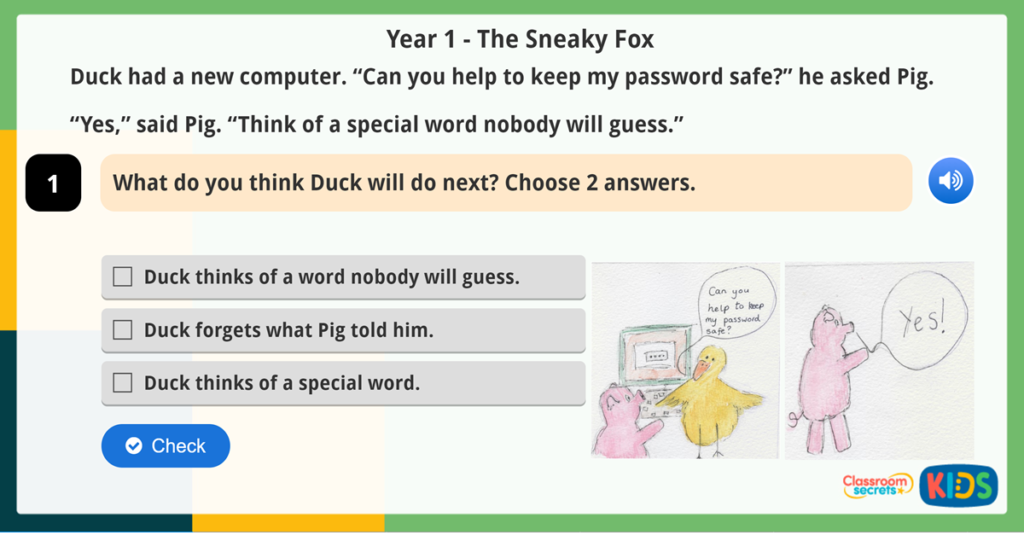 Year 1 Prediction Reading Comprehension