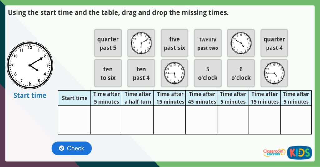 Year 2 Telling Time Activities