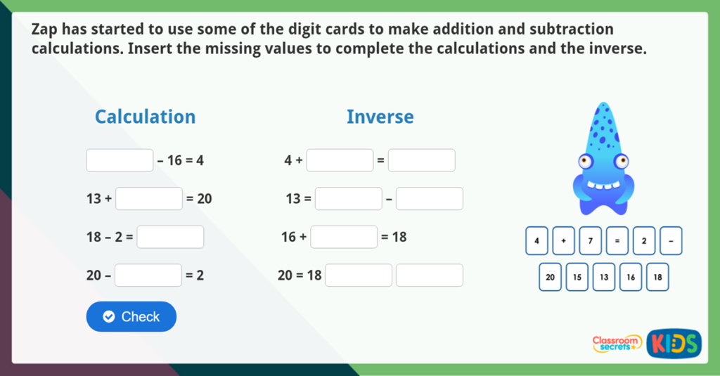 Year 2 use the inverse relationship challenge activity