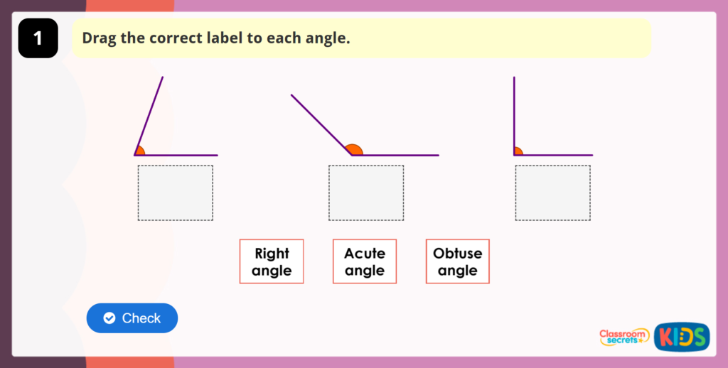 Acute, Obtuse and Right Angles Activity