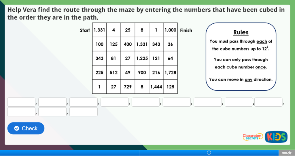 Year 5 Cube Numbers Maths Challenge