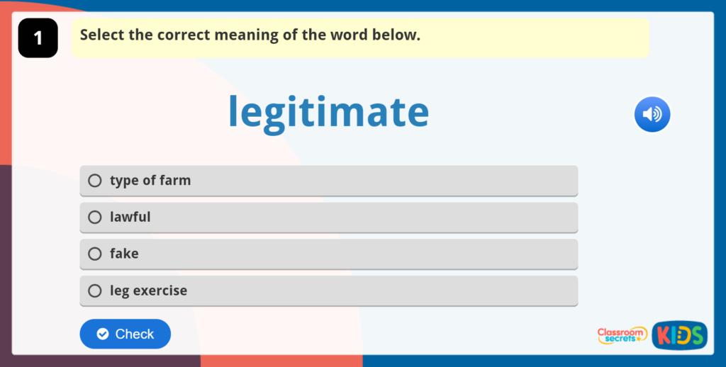 Year 5 Vocabulary Challenge 5