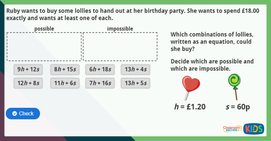 Find Pairs of Values Maths Activity