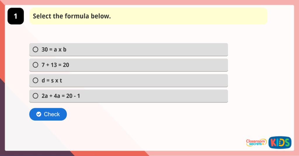 Year 6 Using Formulae Game
