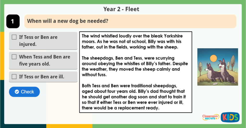 Year 2 Sequence the Events Reading Challenge