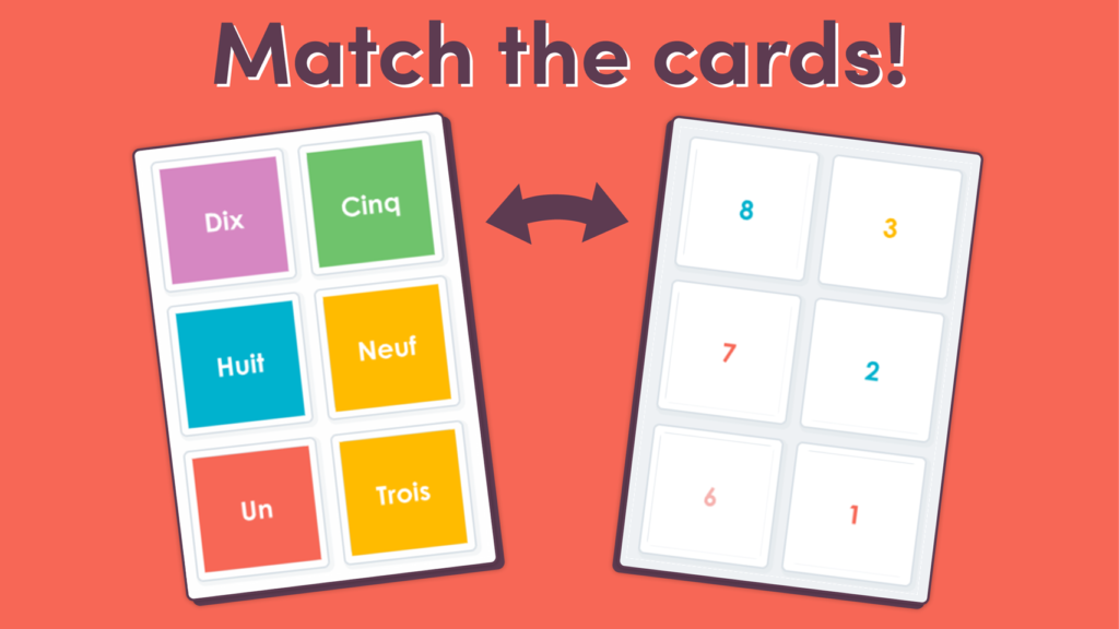 Matching Game Numbers to 10 in French