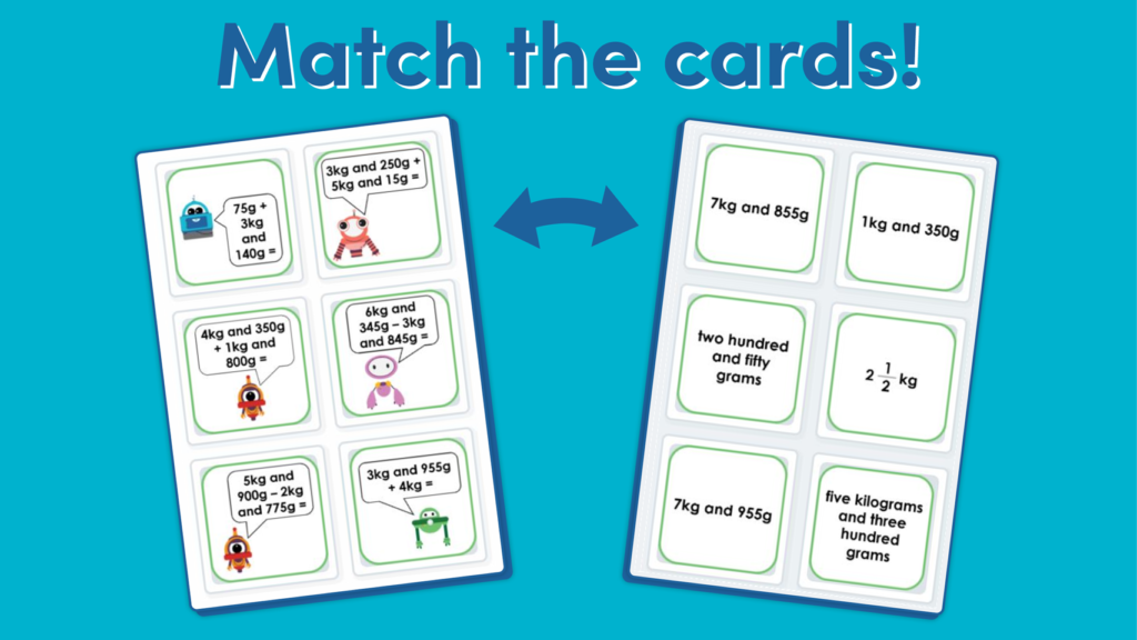 Year 3 Add and Subtract Mass Matching Game