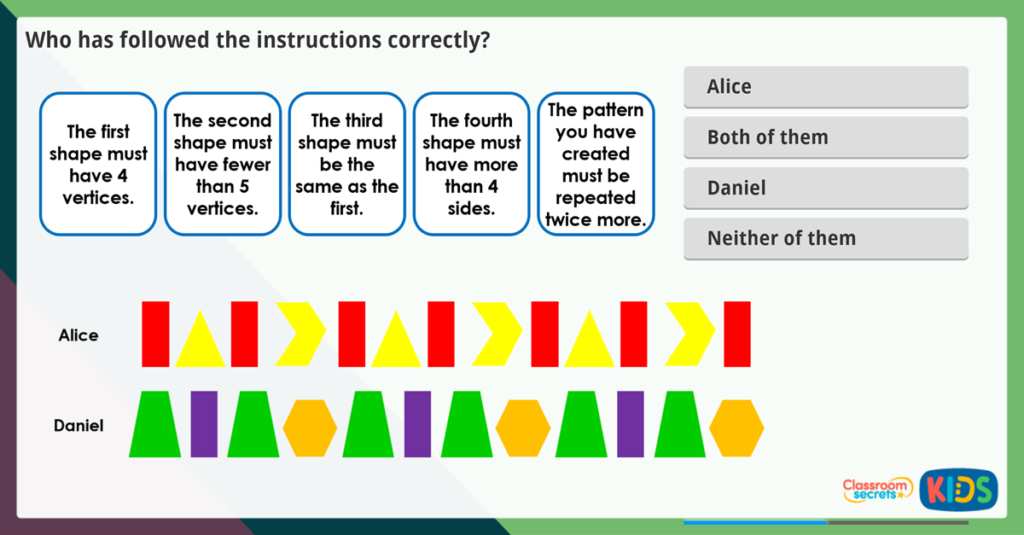 Year 2 Repeating Patterns Activities