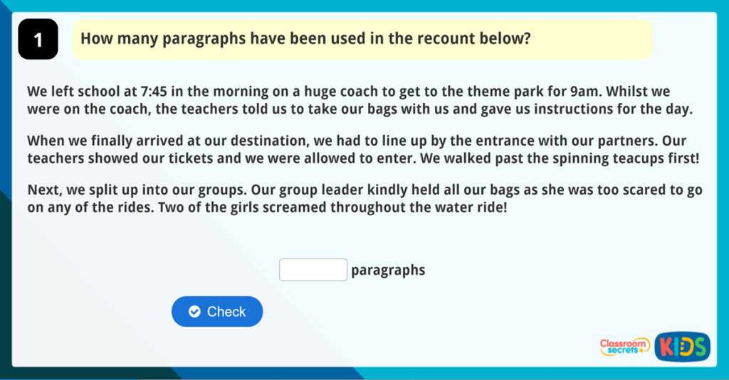 Year 3 Paragraphs Game
