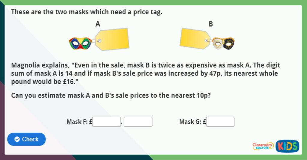 Estimate Money Maths Activity