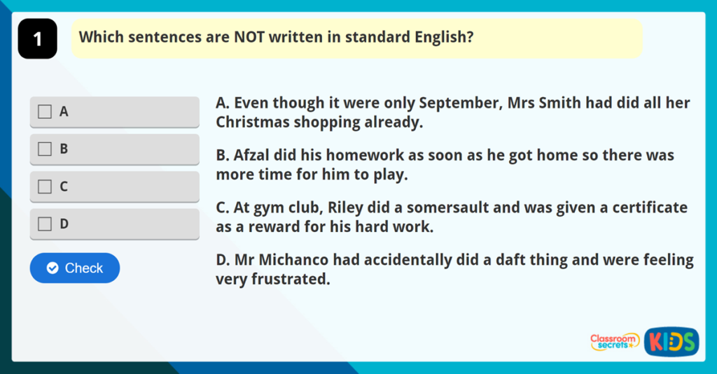 Year 4 Standard English Game