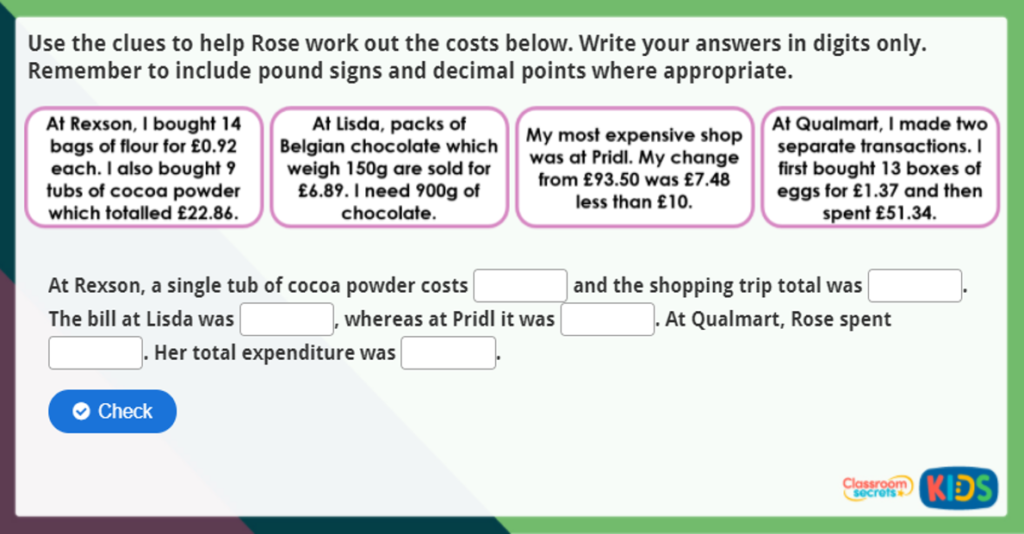 Four Operations and Money Maths Activity