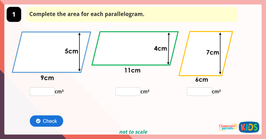 Year 6 Area of a Parallelogram Game