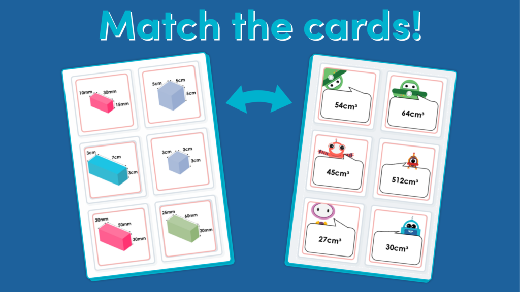 Year 6 Volume of a Cuboid Matching Game