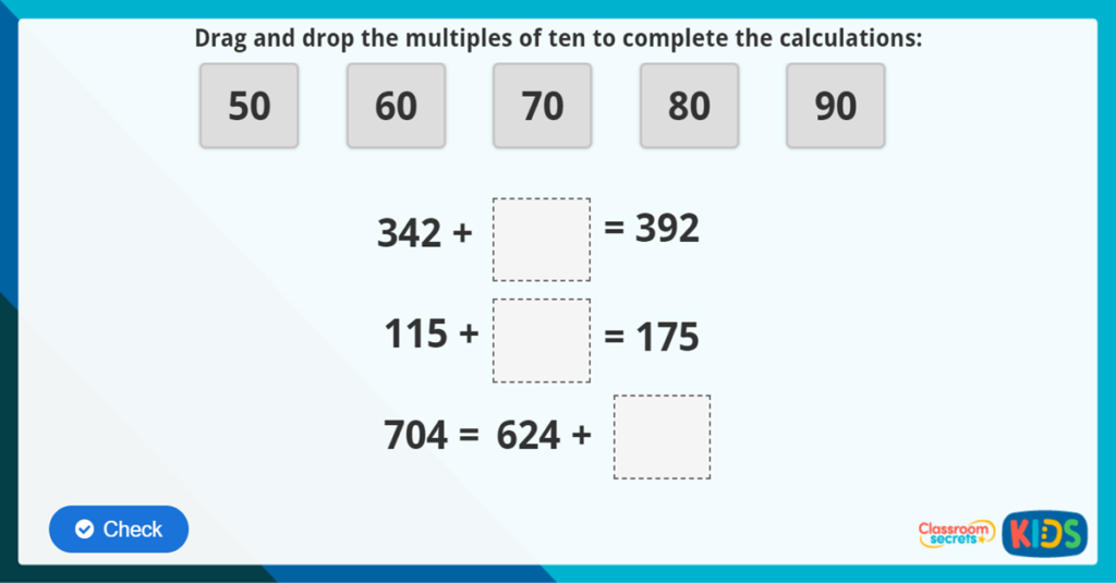 Add 3 digit numbers and tens