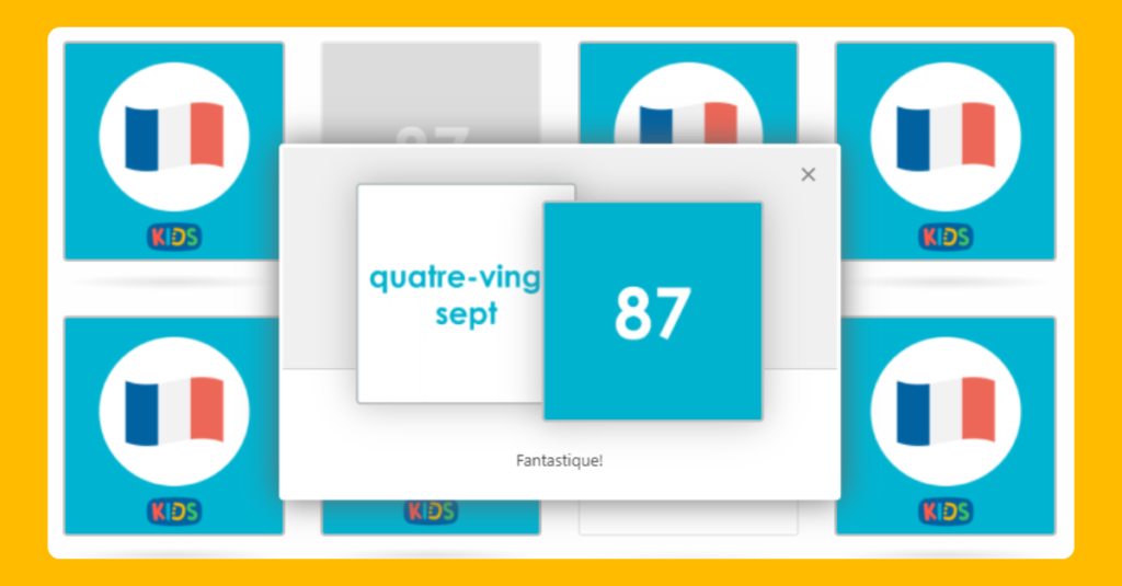 Matching French Numbers 80-100 Game