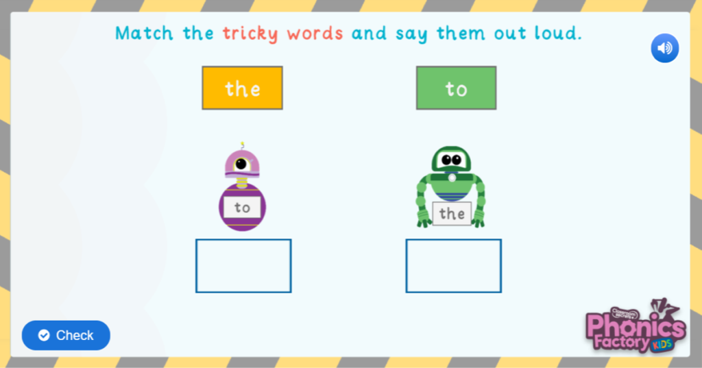 Phase 2 tricky word game