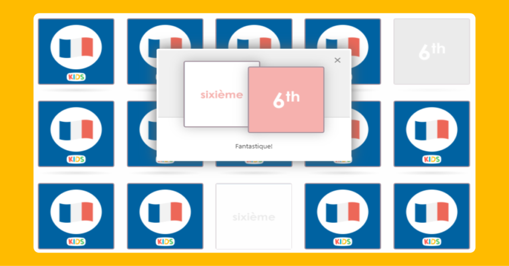 French Ordinal Numbers Matching Game