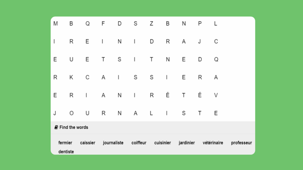 French People in the Community Word Search 2