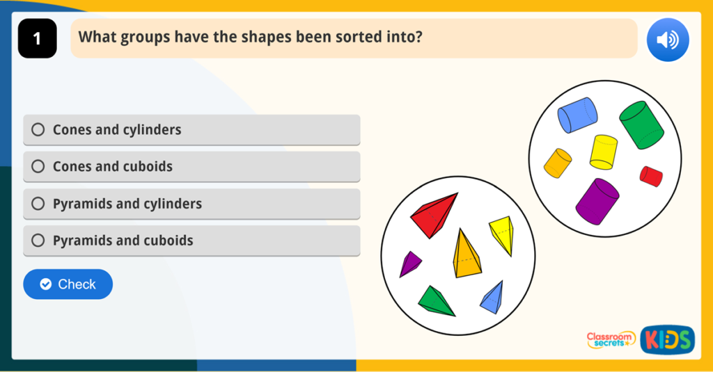 Year 1 Sort 3D Shapes Game