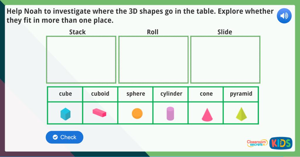 Year 1 Sort 3D Shapes Maths Challenge