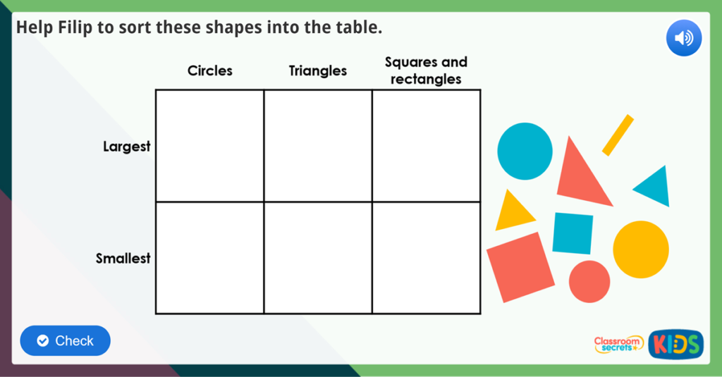 Year 1 Sort 2D Shapes Maths Challenge
