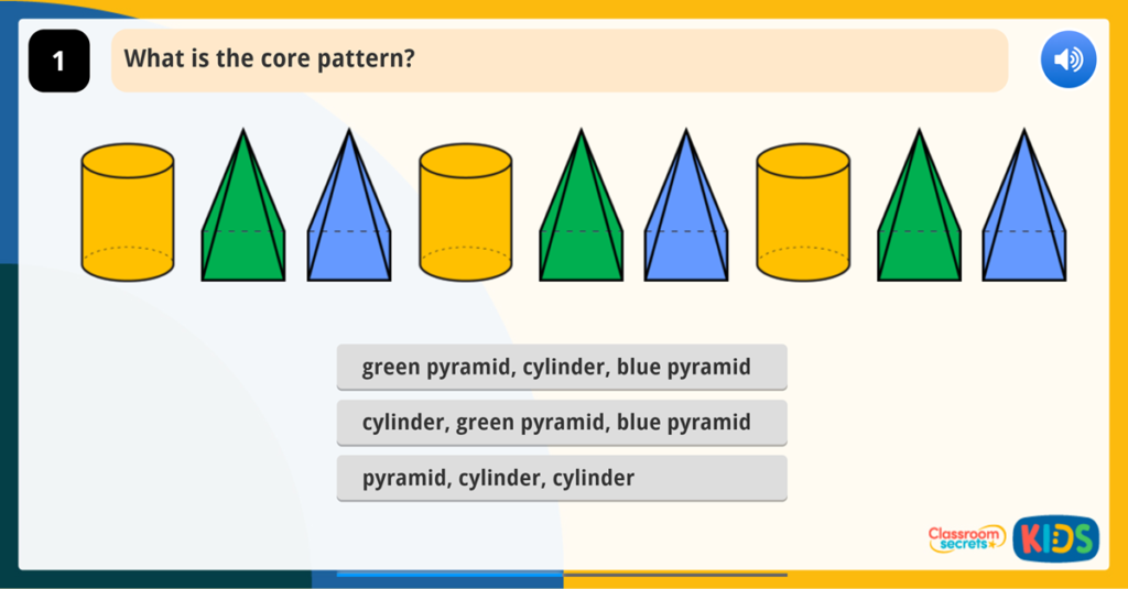 Year 1 Patterns with 2D and 3D Shapes Game